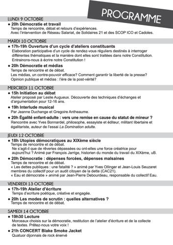 Programme de la Semaine de la Démocratie Octobre 2017