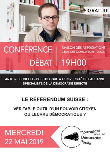 Affiche de la conférence / débat du 22 mai 2019 avec Antoine Chollet